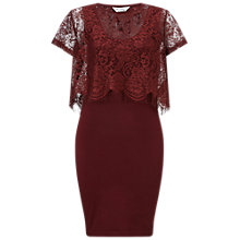 Buy Miss Selfridge Bodycon Dress With Floating Lace Bodice, Burgundy Online at johnlewis.com