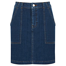Buy Warehouse Denim Curve Pocket Pelmet Skirt, Mid Wash Online at johnlewis.com