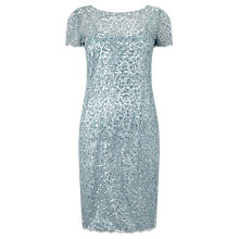 Buy Precis Petite Sequin Lace Dress, Aqua Online at johnlewis.com