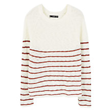 Buy Mango Stripe Jumper, Dark Red Online at johnlewis.com