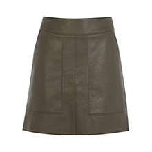Buy Warehouse Panelled Faux Leather Skirt, Brown Online at johnlewis.com