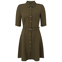 Buy Miss Selfridge Half-Sleeve Shirt Dress, Khaki Online at johnlewis.com