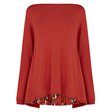 Buy Oasis Printed Pleat Woven Back Top, Mid Red Online at johnlewis.com