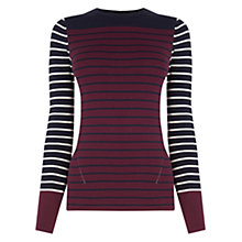 Buy Warehouse Stripe Breton Jumper, Red Online at johnlewis.com