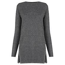 Buy Warehouse Cable Effect Stitch Tunic Jumper, Light Grey Online at johnlewis.com