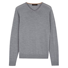 Buy Jaeger Gostwyck Merino Wool V-Neck Jumper, Grey Melange Online at johnlewis.com