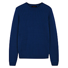 Buy Jaeger Cable Crew Jumper, Estate Blue Online at johnlewis.com