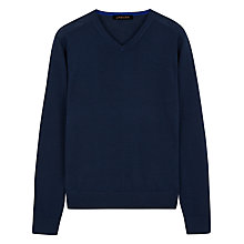 Buy Jaeger Gostwyck Merino Wool V-Neck Jumper, Navy Online at johnlewis.com