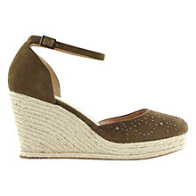 Buy Mint Velvet Ada Wedge Heeled Sandals, Khaki Suede Online at johnlewis.com