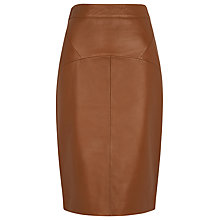 Buy Whistles Kel Leather Pencil Skirt, Brown Online at johnlewis.com