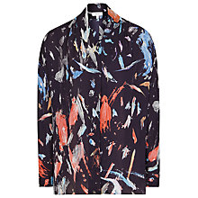 Buy Reiss Didion Printed Wrap Top, Indigo/Multi Online at johnlewis.com