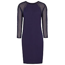 Buy Reiss Dalston Sheer Sleeve Shift Dress, Indigo Online at johnlewis.com
