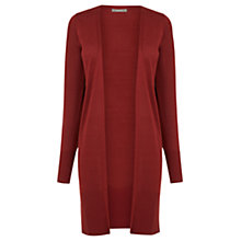 Buy Oasis Longline Rib Trim Edge To Edge Cardigan, Burgundy Online at johnlewis.com