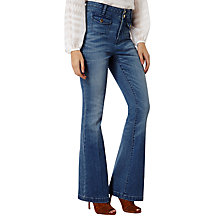 Buy Karen Millen Button Kickflare Jeans, Denim Online at johnlewis.com