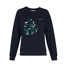 Buy Whistles Leaf Embroidered Sweatshirt, Blue/Multi Online at johnlewis.com