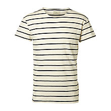 Buy Selected Homme Garreet Stripe T-Shirt, White/Black Online at johnlewis.com