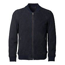 Buy Selected Homme Dublin Suede Bomber Jacket, Dark Navy Online at johnlewis.com