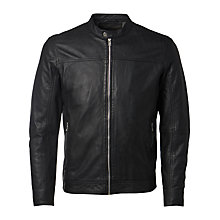 Buy Selected Homme Birmingham Leather Jacket, Black Online at johnlewis.com
