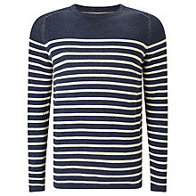 Buy Selected Homme Stripe Jersey Top, Grey/Black Online at johnlewis.com