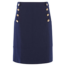 Buy Karen Millen Button Detail A-Line Skirt, Blue Online at johnlewis.com
