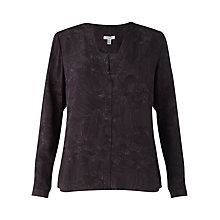 Buy Jigsaw Pleated Petal Open Neck Silk Blouse, Dark Purple Online at johnlewis.com