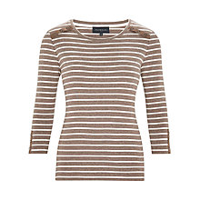Buy Viyella Petite Stripe Button Detail Top, Mink/White Online at johnlewis.com