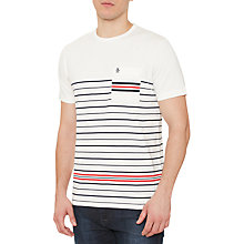 Buy Original Penguin Striped Winston Pocket T-Shirt, White Light Online at johnlewis.com