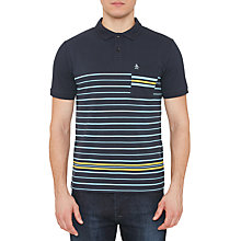 Buy Original Penguin Winston Striped Pocket Polo Shirt, Dark Sapphire Online at johnlewis.com