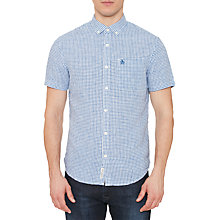 Buy Original Penguin Gingham Short Sleeve Shirt, Blue Online at johnlewis.com