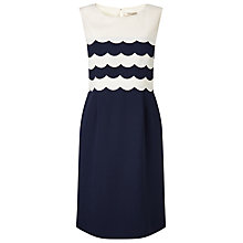Buy Jacques Vert Petite Scallop Layered Dress, Navy/Cream Online at johnlewis.com