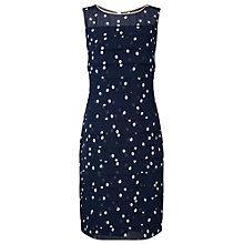 Buy Jacques Vert Petite Layered Spot Print Dress, Navy Online at johnlewis.com