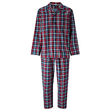 Buy John Lewis Ashford Check Brushed Cotton Pyjamas, Red/Blue Online at johnlewis.com