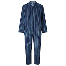 Buy John Lewis Ealing Stripe Brushed Cotton Pyjamas, Blue Online at johnlewis.com