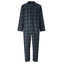 Buy John Lewis Blackburn Brushed Cotton Check Pyjamas, Navy/Green Online at johnlewis.com