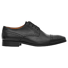 Buy Reiss Ferra Leather Semi Brogue Shoes, Black Online at johnlewis.com