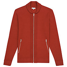 Buy Reiss Jamison Shawl Collar Zip Cardigan, Brick Online at johnlewis.com