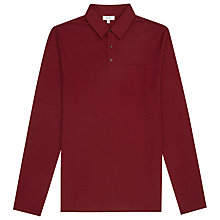 Buy Reiss Parry Long Sleeve Polo Shirt, Summer Bordeaux Online at johnlewis.com