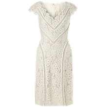Buy Adrianna Papell V-Neck Fit And Flare Dress, Cream/Bisque Online at johnlewis.com