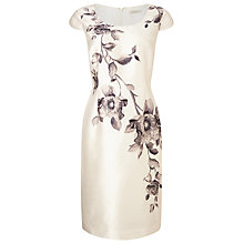 Buy Jacques Vert Petite Flower Print Shift Dress, Light Neutral Online at johnlewis.com