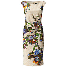 Buy Adrianna Papell Pleated Sheath Matelasse Dress, Ivory/Blue Online at johnlewis.com
