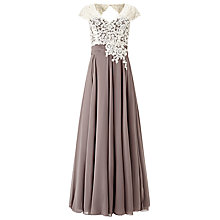 Buy Jacques Vert Lace Bodice Chiffon Maxi Dress, Taupe/Cream Online at johnlewis.com