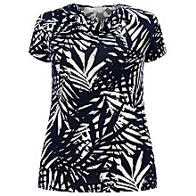 Buy Windsmoor Palm Leaf Cowl Neck Top, Navy/White Online at johnlewis.com