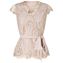 Buy Jacques Vert Petite Wrap Front Lace Top, Mid Neutral Online at johnlewis.com