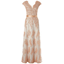 Buy Aidan Mattox Cap Sleeve V-Neck Evening Gown, Sand Online at johnlewis.com