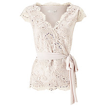 Buy Jacques Vert Wrap Front Lace Top, Neutral Online at johnlewis.com
