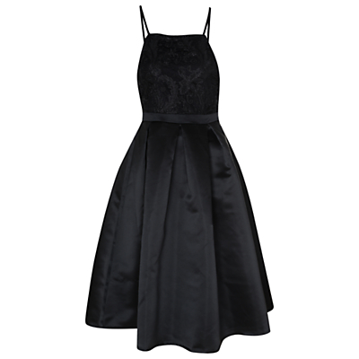True Decadence Contrast Lace Prom Dress, Black