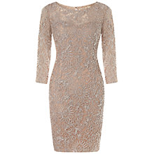 Buy Aidan Mattox Three-Quarter Sleeve Illusion Dress, Blush Online at johnlewis.com