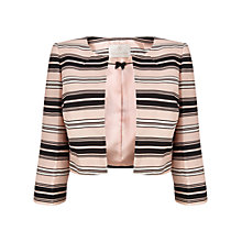 Buy Jacques Vert Stripe Cropped Jacket, Blossom Pink/Multi Online at johnlewis.com