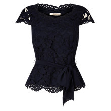 Buy Jacques Vert Petite Lace Belted Top, Navy Online at johnlewis.com