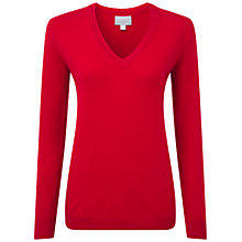 Buy Pure Collection Lancaster Double V Neck Cashmere Sweater, Pillarbox Red Online at johnlewis.com